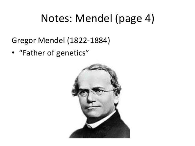 """Notes: Mendel (page 4)Gregor Mendel (1822-1884)• """"Father of genetics"""""""
