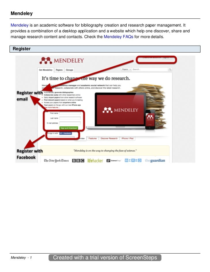 MendeleyMendeley is an academic software for bibliography creation and research paper management. Itprovides a combination...