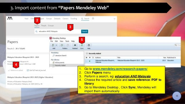 """3. Import content from """"Papers Mendeley Web"""" 3 2 4 1. Go to www.mendeley.com/research-papers/ 2. Click Papers menu 3. Perf..."""
