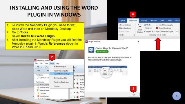 DESKTOP INTERFACEINSTALLING AND USING THE WORD PLUGIN IN WINDOWS 2 1. To install the Mendeley Plugin you need to first clo...