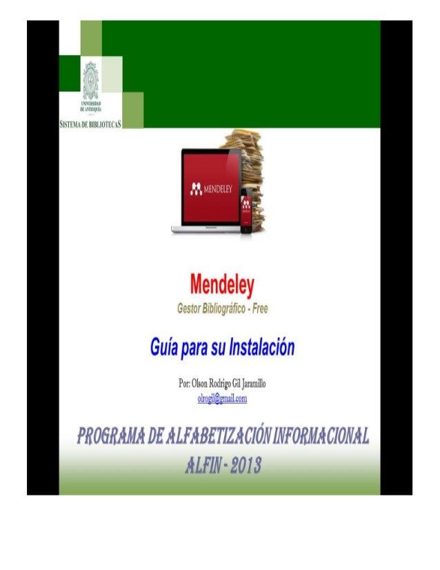 MENDELEY Gestor Bibliográfico – Free. INSTALACIÓN Dirección para acceder desde Internet: http://www.mendeley.com/ Crear un...