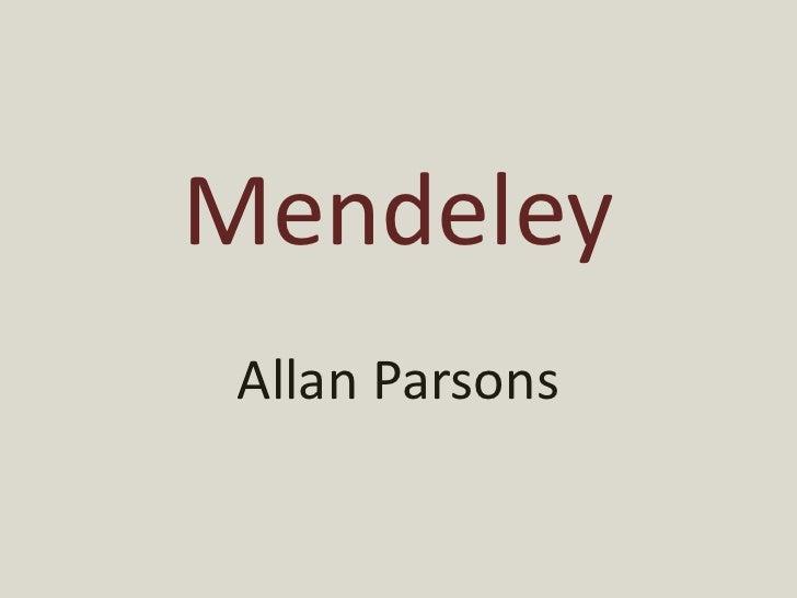 Mendeley Allan Parsons