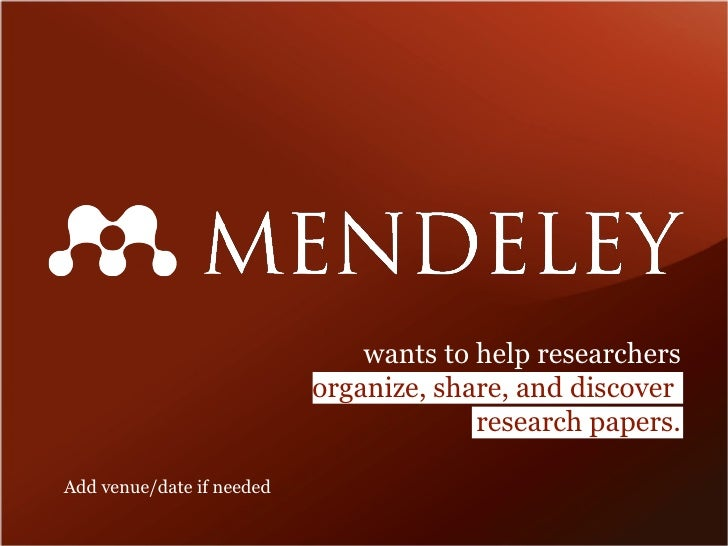 wants to help researchers organize, share, and discover  research papers. Add venue/date if needed