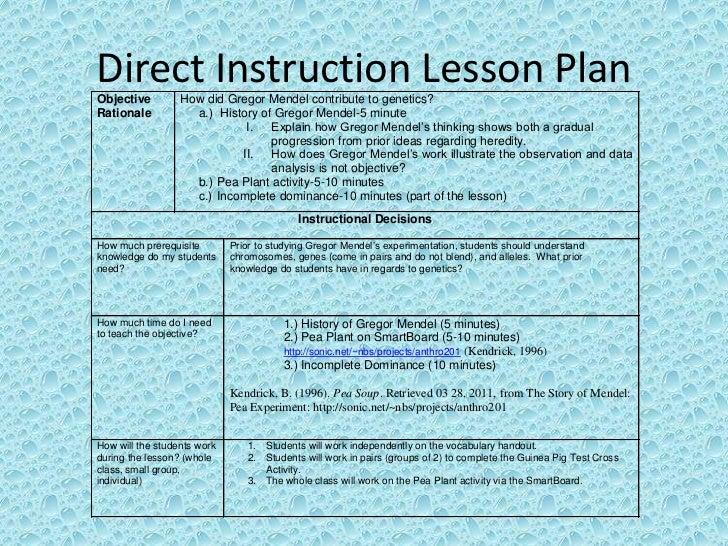 Mendelian genetics read5255 direct instruction lesson plan