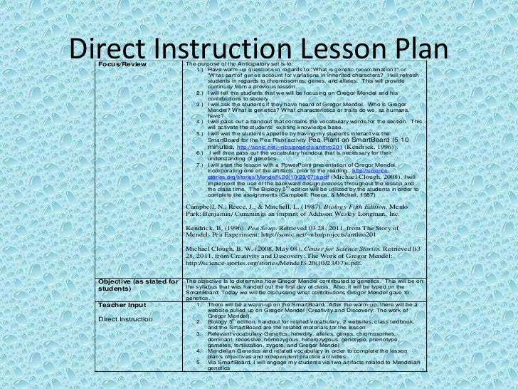 Mendelian Genetics Read5255 Direct Instruction Lesson Plan