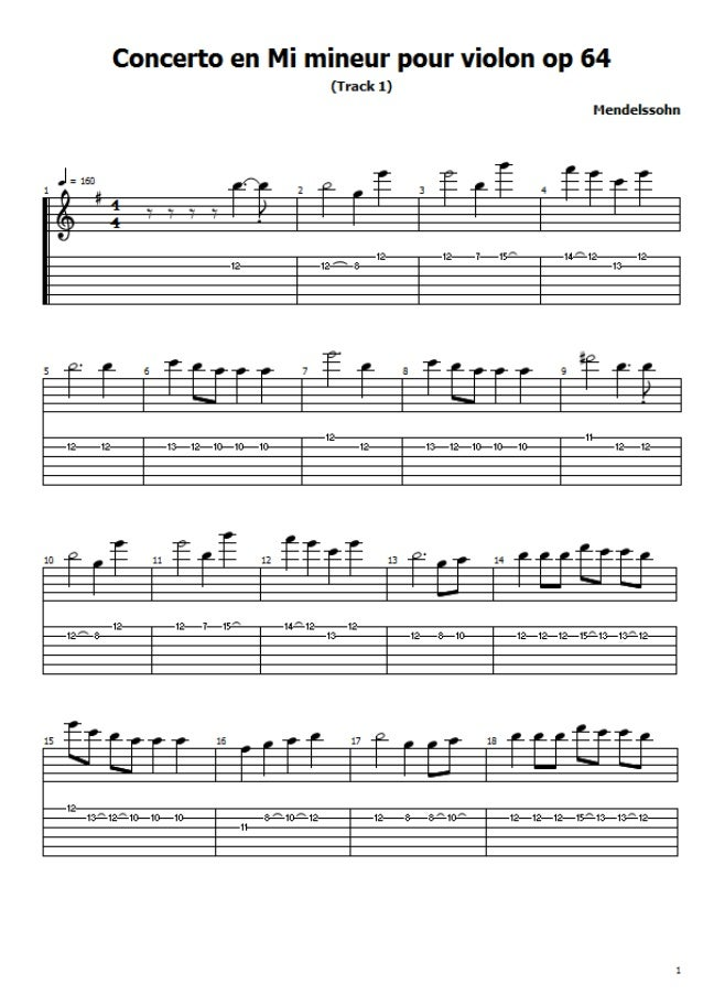 Mendelssohn  concerto pour violon n°2 en mi 1é mouvement