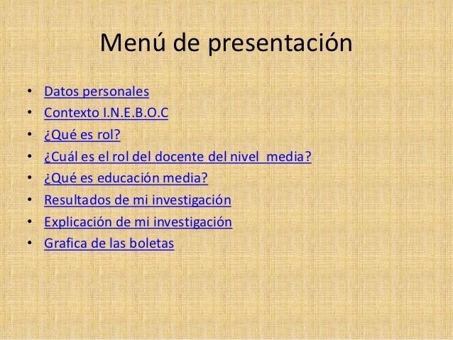 Menú de presentación•   Datos personales•   Contexto I.N.E.B.O.C•   ¿Qué es rol?•   ¿Cuál es el rol del docente del nivel ...