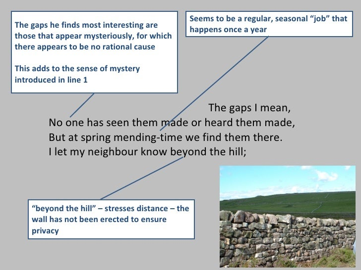 analysis of frosts mending wall Summary and analysis of robert frost's mending wall, along with a discussion of major themes in the poem.