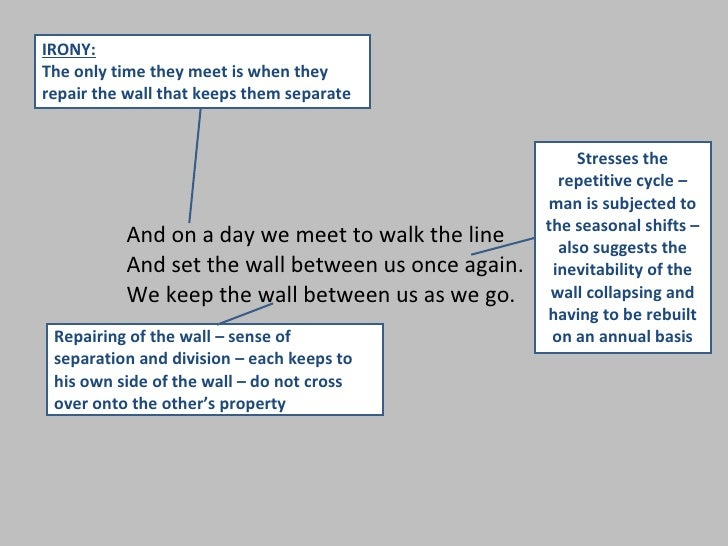 mending wall by robert frost analysis Mending wall by robert frost as a farmer trudging through his fields literary analysis something there is that doesn't love a wall mending the wall is just a game to him there's no deeper purpose.