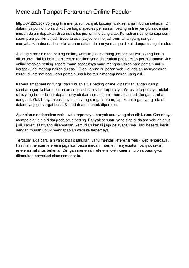 Menelaah Tempat Pertaruhan Online Popular http://67.225.207.75 yang kini menyusun banyak kacung tidak seharga hiburan seka...