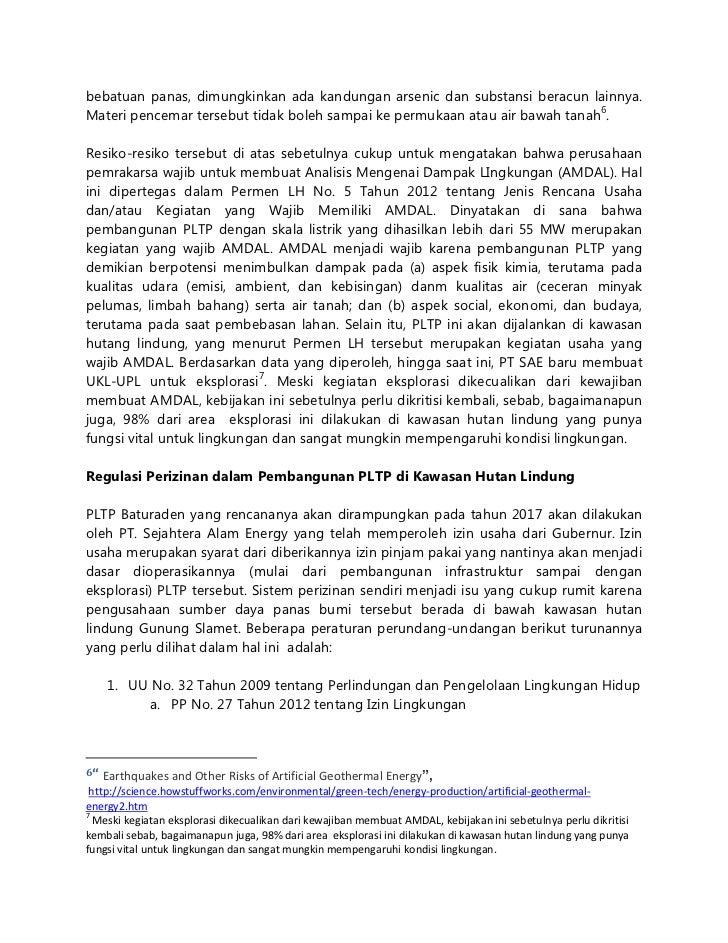 Menelisik rencana pembangunan pltp baturaden