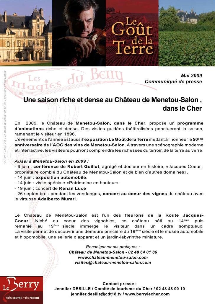 Une saison riche et dense au ch teau de menetou salon for Chateau de menetou salon