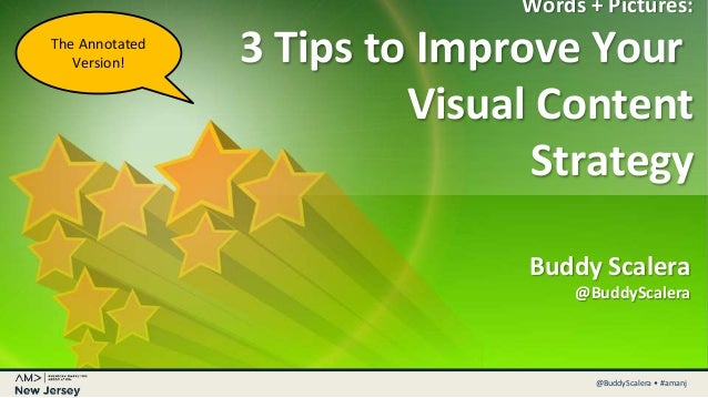 @MarketingBuddy • #CMWorld@BuddyScalera • #amanj Words + Pictures: 3 Tips to Improve Your Visual Content Strategy Buddy Sc...