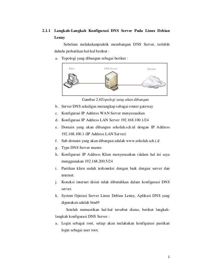 2.1.1  Langkah-Langkah Konfigurasi DNS Server Pada Linux Debian Lenny Sebelum melakukanpraktik membangun DNS Server, terle...