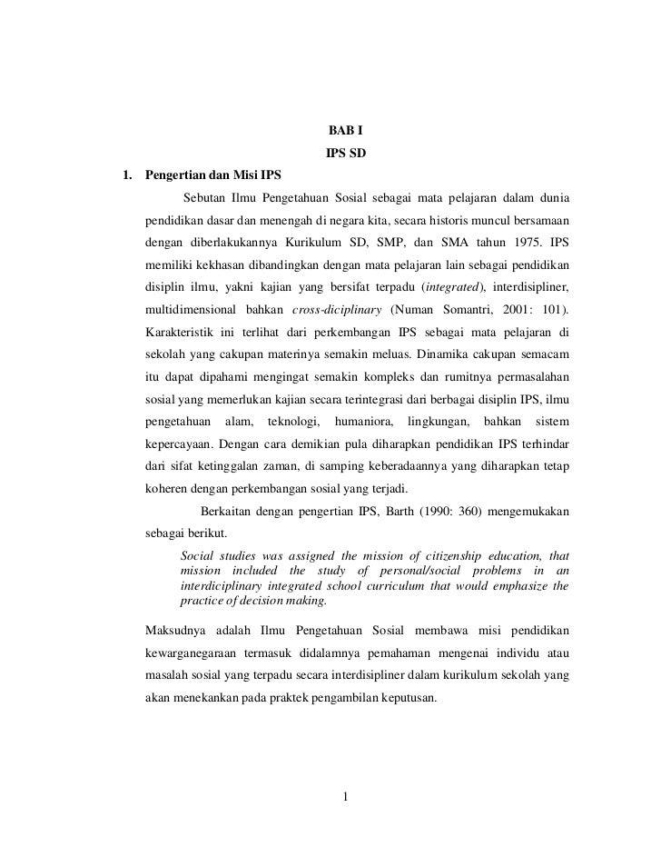 BAB I                                         IPS SD1.   Pengertian dan Misi IPS            Sebutan Ilmu Pengetahuan Sosia...