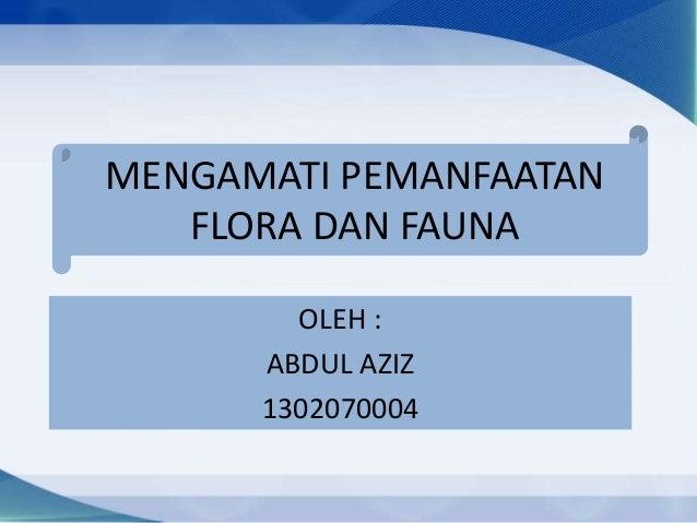 MENGAMATI PEMANFAATAN FLORA DAN FAUNA OLEH : ABDUL AZIZ 1302070004
