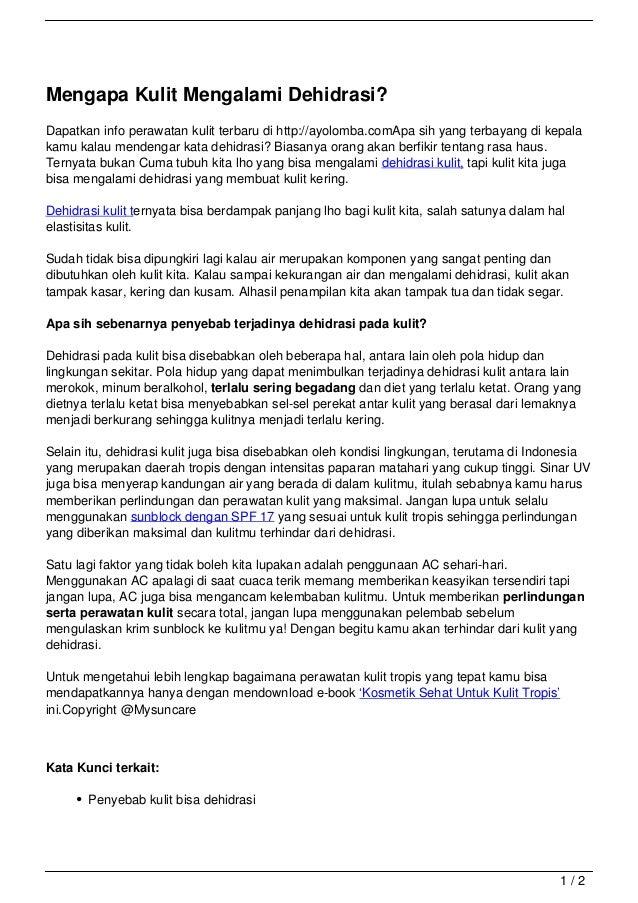 Mengapa Kulit Mengalami Dehidrasi?Dapatkan info perawatan kulit terbaru di http://ayolomba.comApa sih yang terbayang di ke...