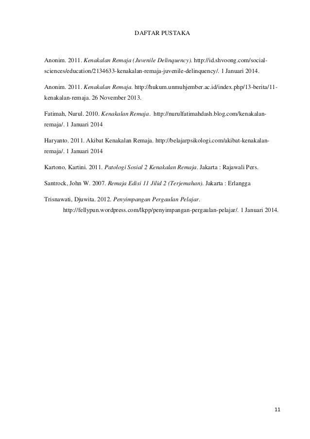 Contoh Daftar Pustaka Kenakalan Remaja Jawkosa