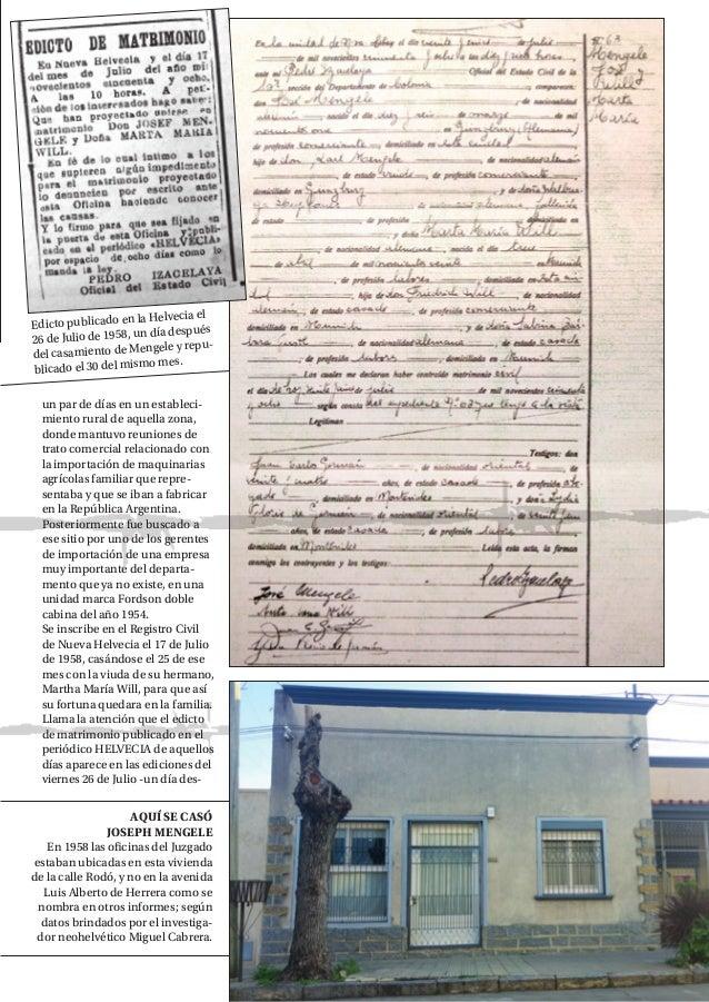 NH MAGAZINE 21 Edicto publicado en la Helvecia el 26 de Julio de 1958, un día después del casamiento de Mengele y repu- bl...