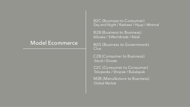 Model Ecommerce B2C (Business to Consumer) Day and Night / Rashawl / Hijup / Minimal B2B (Business to Business) Alibaba / ...