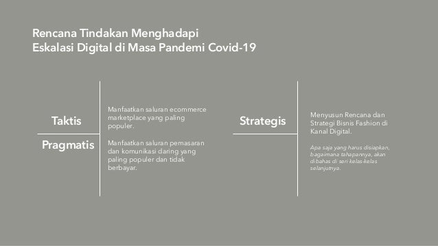 Rencana Tindakan Menghadapi Eskalasi Digital di Masa Pandemi Covid-19 Taktis Manfaatkan saluran ecommerce marketplace yang...