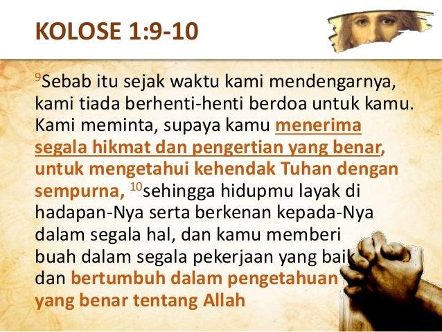 Pengenalan akan Tuhan mencakup hikmat/pengertian rohani Setiap kali membaca Alkitab, kita sedang duduk di dekat kaki Tuhan.