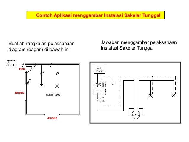 Menggambar listrik 13 contoh aplikasi menggambar instalasi sakelar seri buatlah rangkaian pelaksanaan diagram ccuart Images