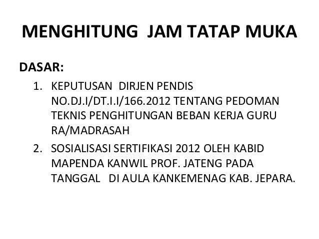 MENGHITUNG JAM TATAP MUKADASAR:1. KEPUTUSAN DIRJEN PENDISNO.DJ.I/DT.I.I/166.2012 TENTANG PEDOMANTEKNIS PENGHITUNGAN BEBAN ...
