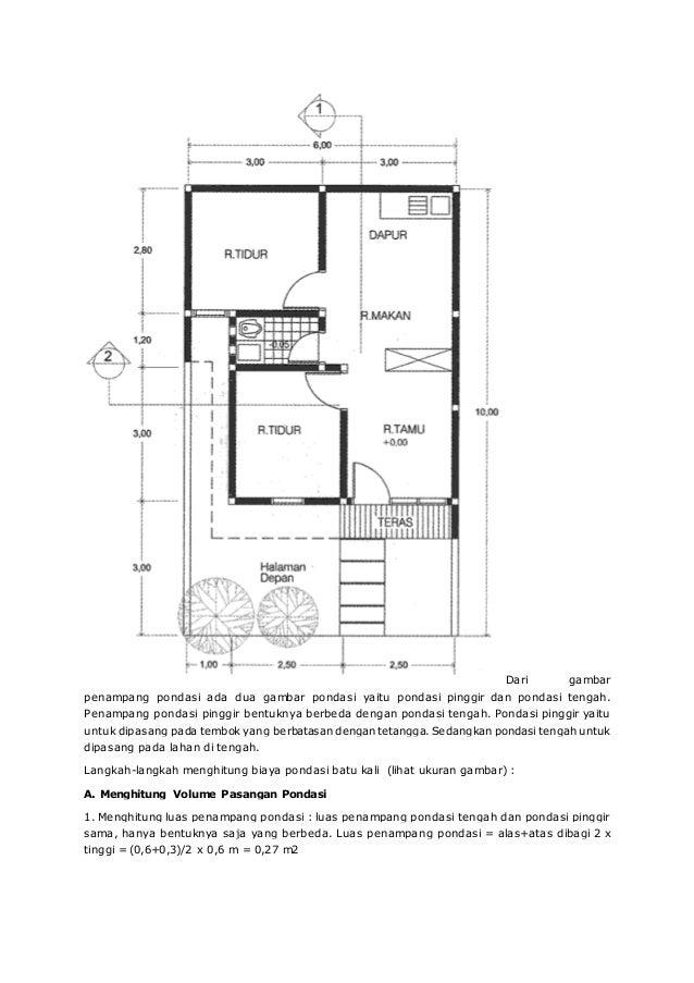 Menghitung Pondasi Batu Kali Rumah Sederhana Type 21