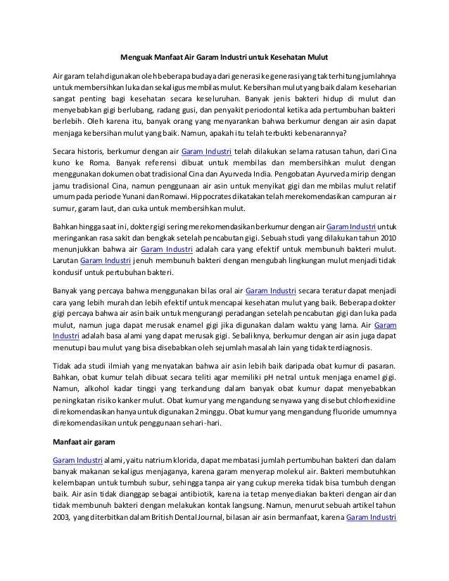 Menguak Manfaat Air Garam Industri Sumatraco Untuk Kesehatan Mulut
