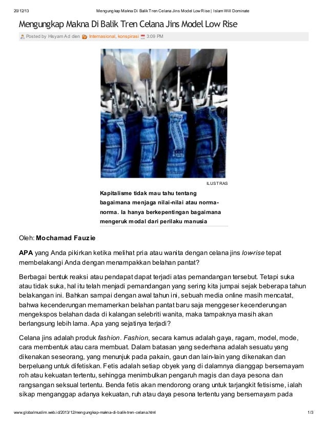 20/12/13  Mengungkap Makna Di Balik Tren Celana Jins Model Low Rise | Islam Will Dominate  Mengungkap Makna Di Balik Tren ...