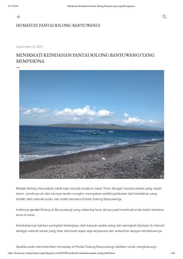 Menikmati Keindahan Pantai Solong Banyuwangi Yang Mempesona