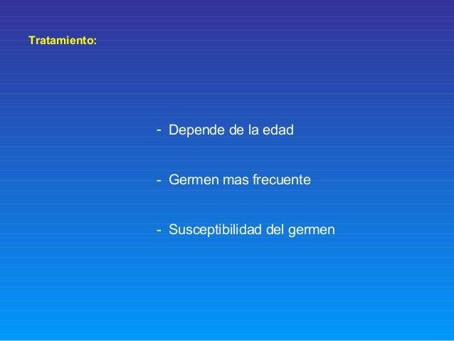 Tratamiento: - Depende de la edad - Germen mas frecuente - Susceptibilidad del germen