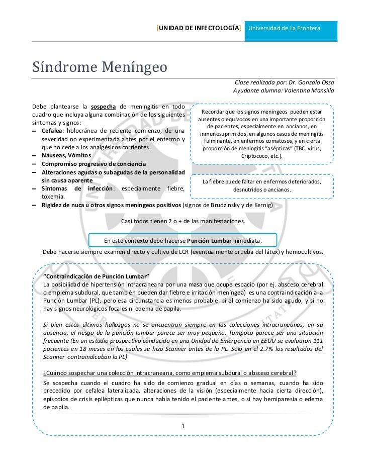 [UNIDAD DE INFECTOLOGÍA] Universidad de La FronteraSíndrome Meníngeo                                                      ...