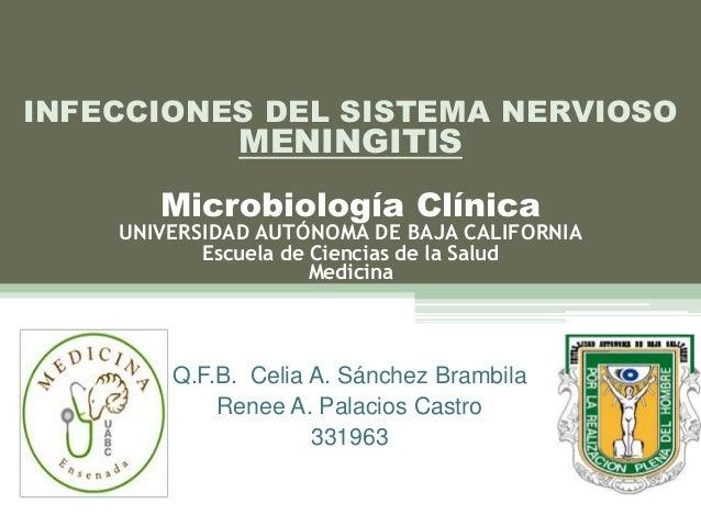 Q.F.B. Celia A. Sánchez BrambilaRenee A. Palacios Castro331963INFECCIONES DEL SISTEMA NERVIOSOMENINGITISMicrobiología Clín...