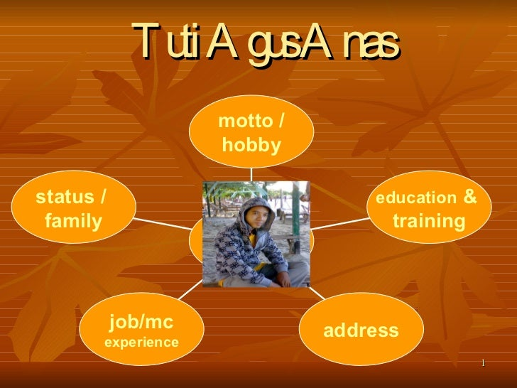 Tuti Agus Anas   status /  family job/mc experience address education  &  training motto / hobby
