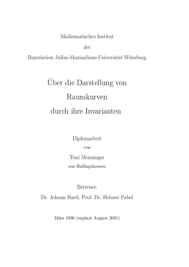 Mathematisches Institut                        derBayerischen Julius-Maximilians-Universit¨t Wurzburg                     ...