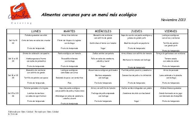 Alimentos cercanos para un menú más ecológico   Noviembre 2013  LUNES  Arroz tres delicias  Cinta de lomo en salsa de cir...