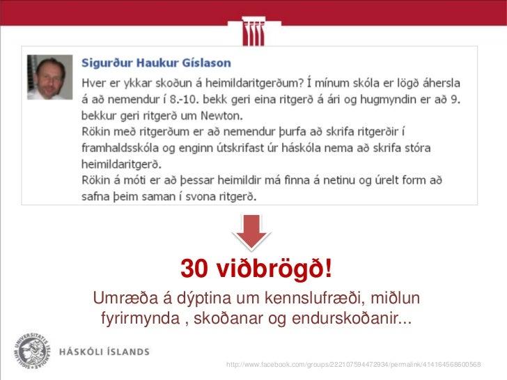 Innlegg í hóp náttúrufræðikennara á Facebook flokkuð                       eftir gerð 81      Ábendingar um gögn sem nýtas...