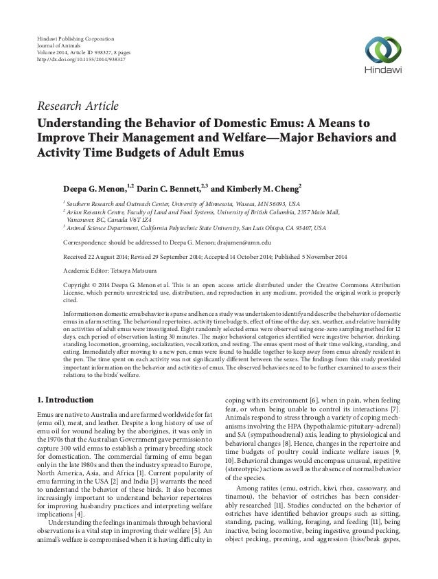 Research Article Understanding the Behavior of Domestic Emus: A Means to Improve Their Management and Welfare—Major Behavi...