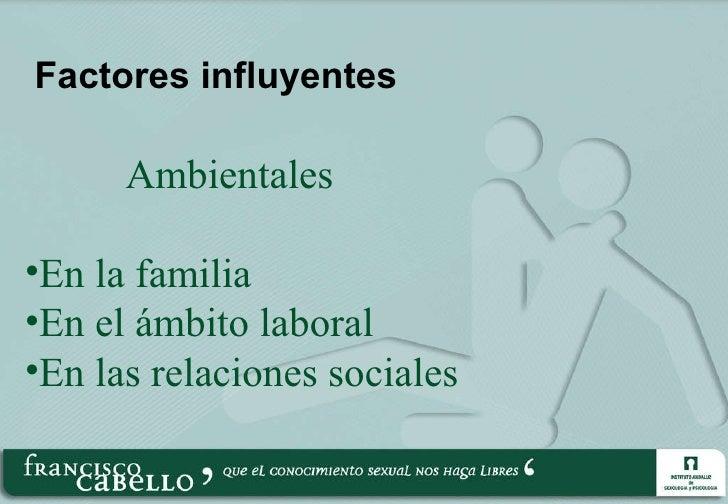 Factores influyentes <ul><ul><ul><ul><li>Ambientales </li></ul></ul></ul></ul><ul><li>En la familia </li></ul><ul><li>En e...