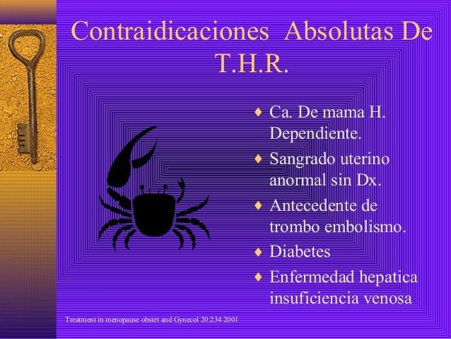 Contraidicaciones Absolutas De             T.H.R.                                                        ♦ Ca. De mama H. ...