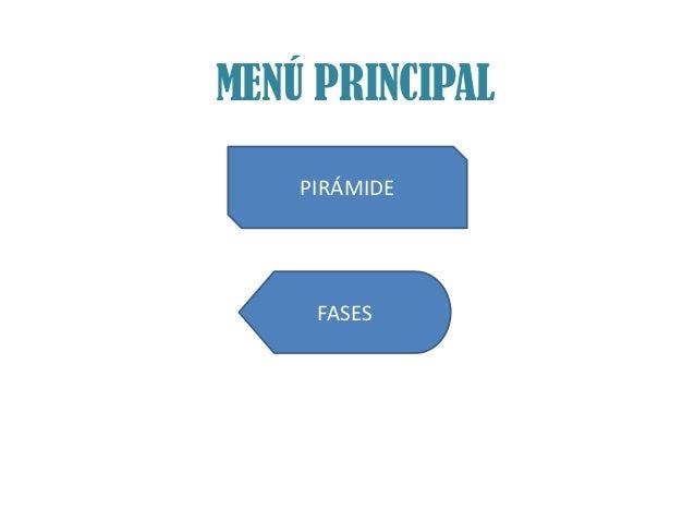 MENÚ PRINCIPAL    PIRÁMIDE     FASES