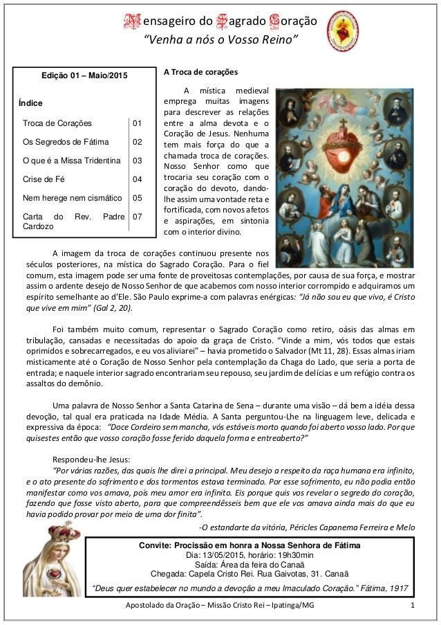 """Mensageiro do Sagrado Coração """"Venha a nós o Vosso Reino"""" Apostolado da Oração – Missão Cristo Rei – Ipatinga/MG 1 A Troca..."""