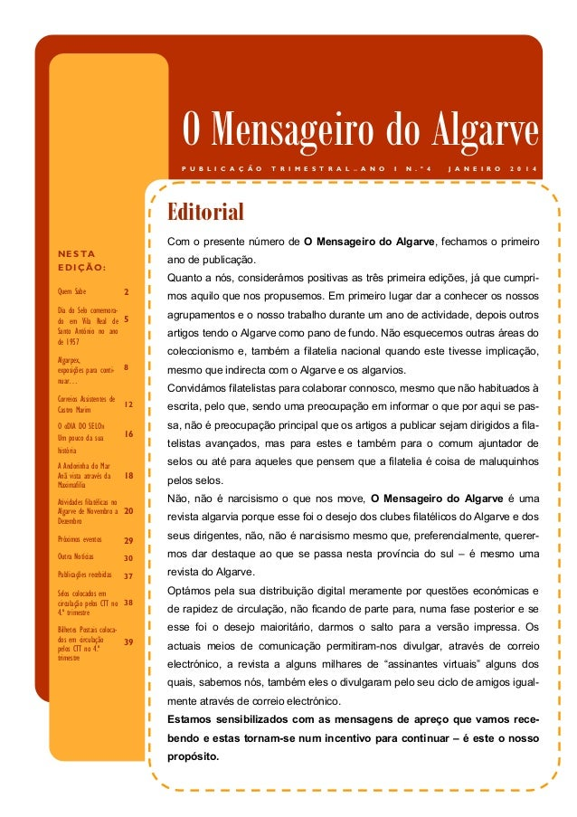 O Mensageiro do Algarve P U B L I C A Ç Ã O  T R I M E S T R A L  —  A N O  I  N . º 4  J A N E I R O  2 0 1 4  Título do ...