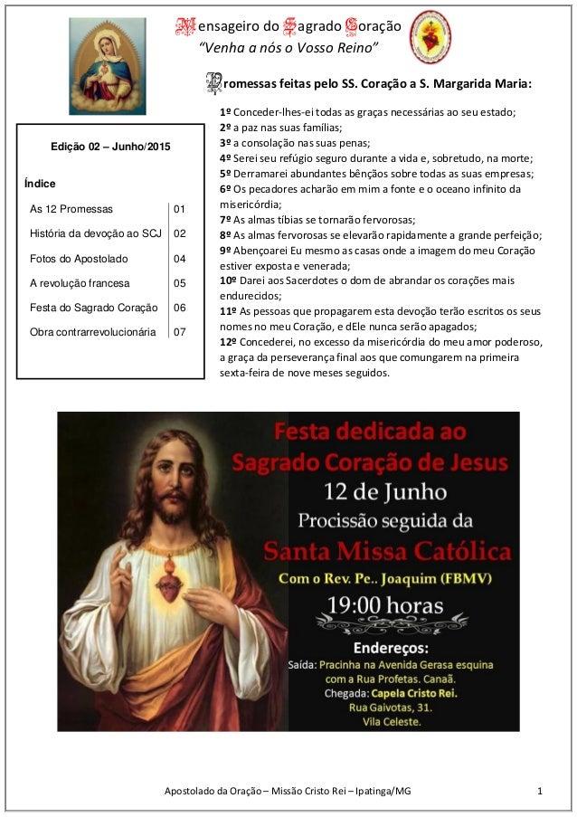 """Mensageiro do Sagrado Coração """"Venha a nós o Vosso Reino"""" Apostolado da Oração – Missão Cristo Rei – Ipatinga/MG 1 Promess..."""