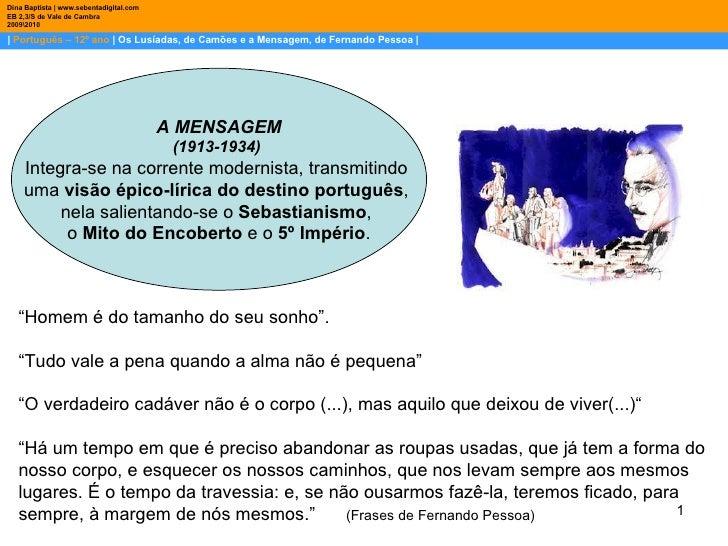 |  Português – 12º ano  | Os Lusíadas, de Camões e a Mensagem, de Fernando Pessoa | Dina Baptista | www.sebentadigital.com...