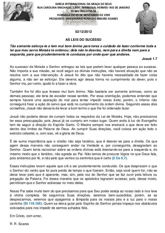 IGREJA INTERNACIONAL DA GRAÇA DE DEUS                 RUA CAROLINA MACHADO, 1.924 - MARECHAL HERMES- RIO DE JANEIRO       ...
