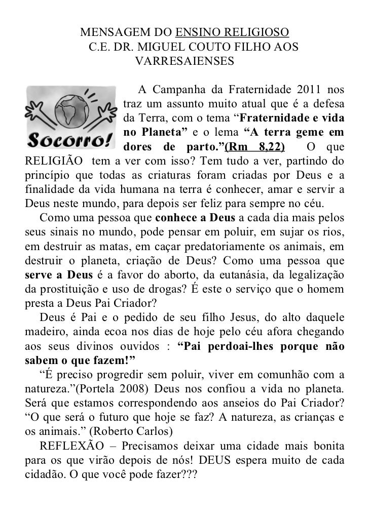 MENSAGEM DO ENSINO RELIGIOSO           C.E. DR. MIGUEL COUTO FILHO AOS                   VARRESAIENSES                    ...