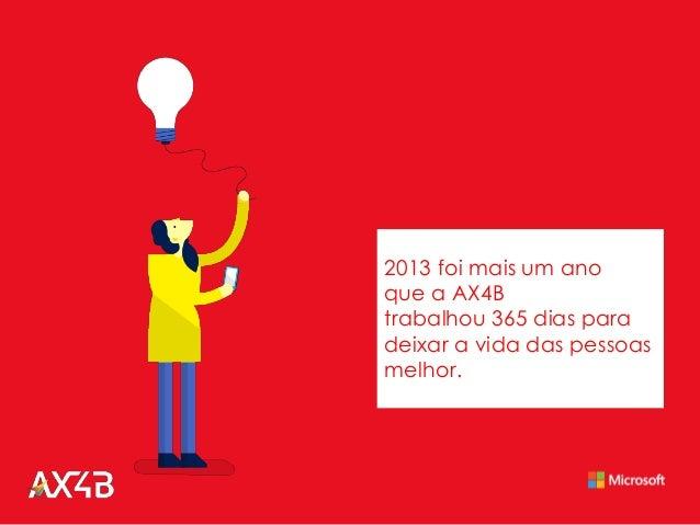 2013 foi mais um ano que a AX4B trabalhou 365 dias para deixar a vida das pessoas melhor.